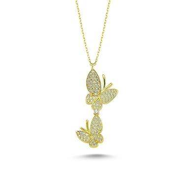 Online Takı Kelebek Gümüş Kolye Renkli